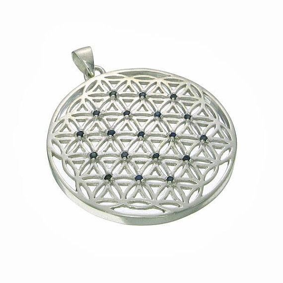 Sacred geometry sterling silver flower of life by wooknook13 etsy sacred geometry sterling silver flower of life pendant with blue sapphires sale mozeypictures Gallery