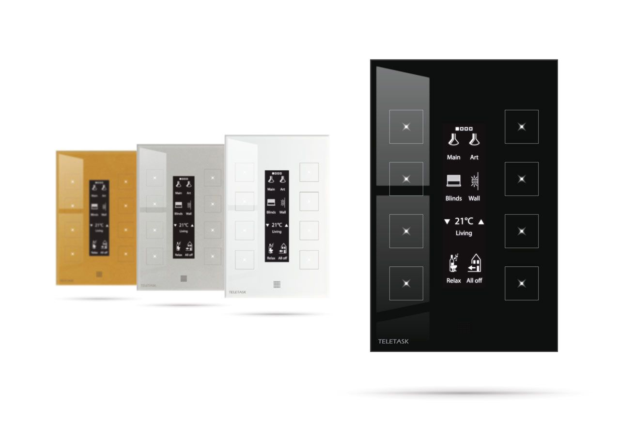 Aurus Oled In All Four Colours Black White Aluminium Grey Gold 8 Capacitive Touch Buttons Led Feedback 4 Pages 4x8 Buttons Zone Pages For