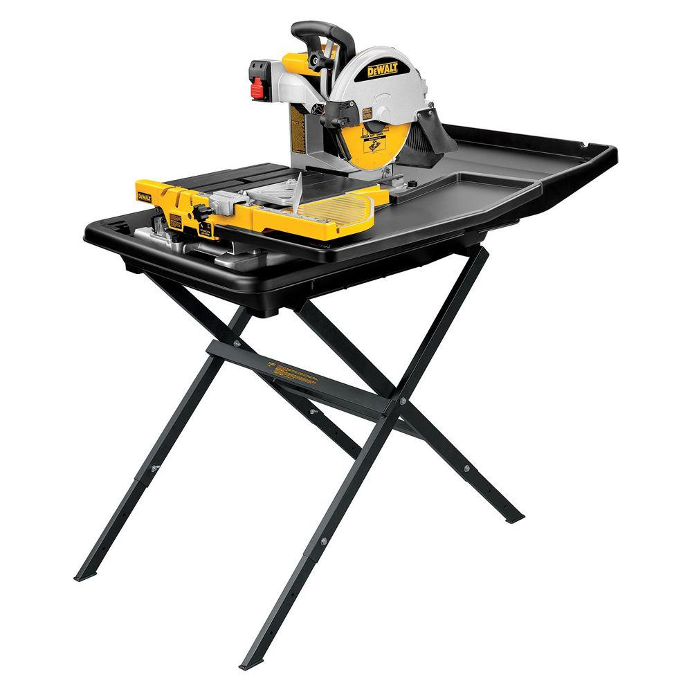 Dewalt 10 In Wet Tile Saw With Stand D24000s The Home Depot Tile Saw Sliding Table Diy Table Saw