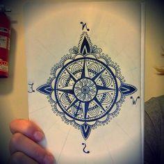 color compass mandala tattoo - Google Search   Compass ...