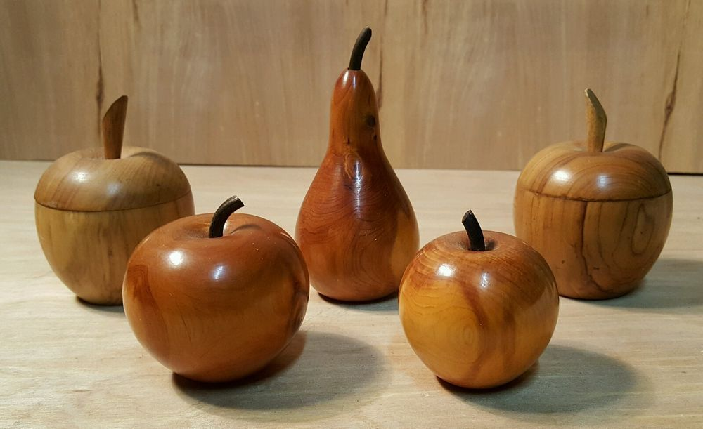 WOOD APPLE PEAR ~ Decorative Fake Fruit Lot of 5 ~ w/ Stems & Wood Grain #Wood #Fruit #Apple #Pear