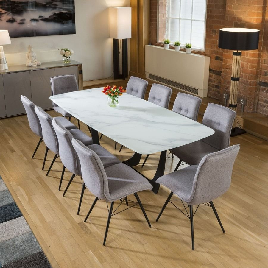 Modern White Glass Marble Effect Dining Table 10 Grey Fabric