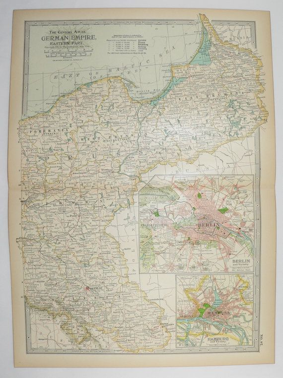 East Germany Map 1901 Antique Map German Empire Breslau Germany