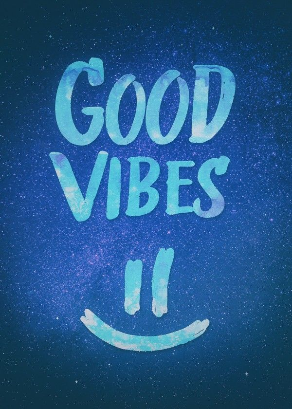 Good Vibes Funny Smiley Statement / Happy Face (Blue
