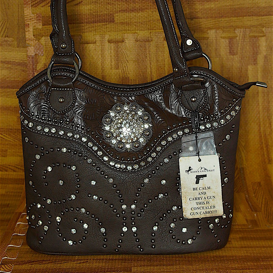 MW Concealed & Carry Dark Brown Concho Bling