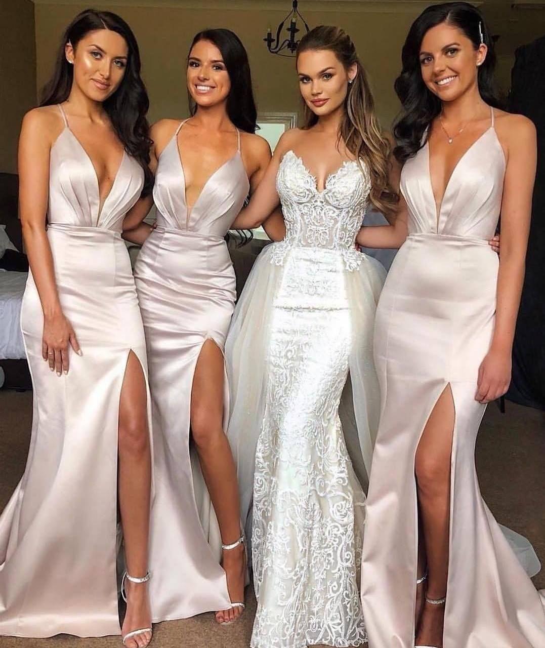 Elegante Schlichte Brautjungfernkleider Lang Günstig Satin Kleider