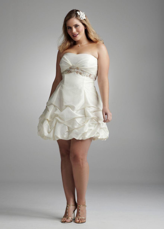 Short wedding dresses plus size  Taffeta Beaded Empire with Short Pickup Skirt Style L  Prom