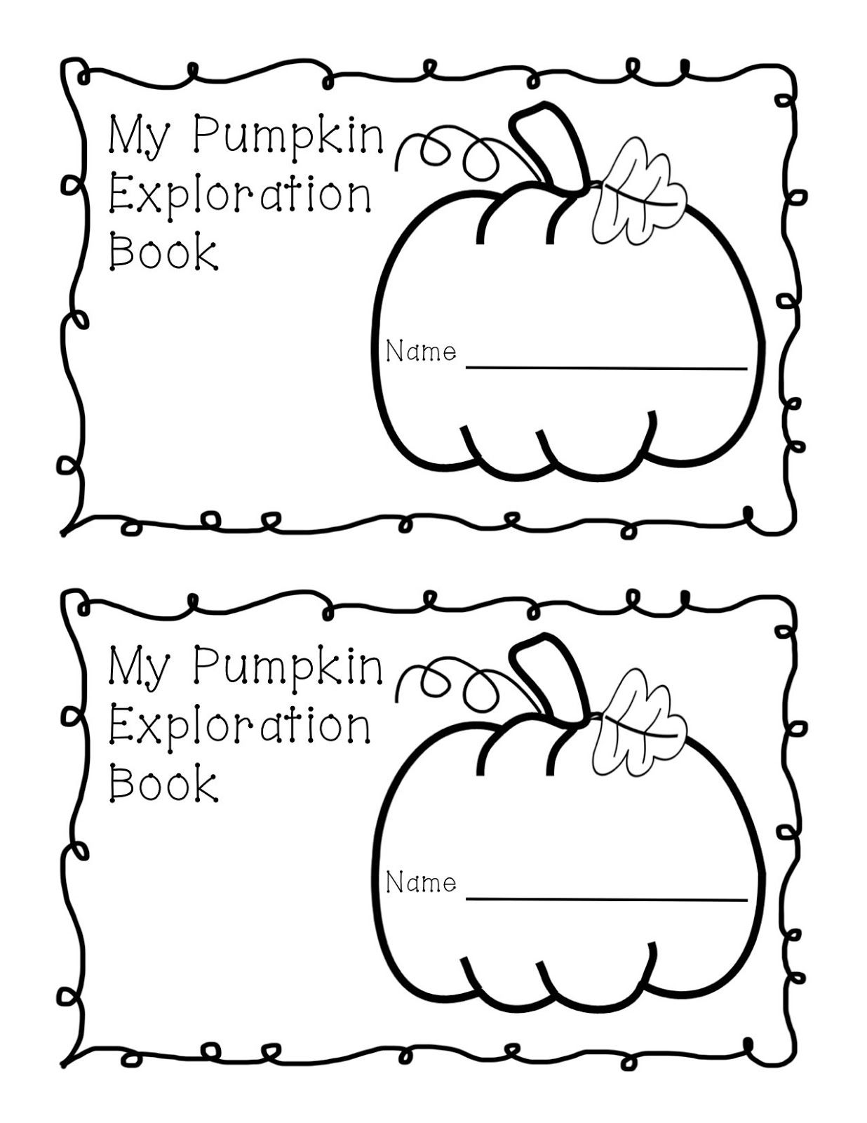 Pumpkin Exploration Book Freebie for kids to explore and