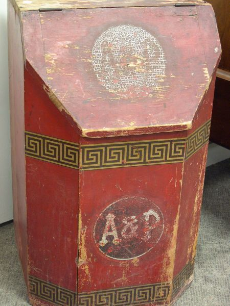 A & P Paint Decorated Wooden Retailers Floor Tea Bin. | Sale Number 2254, Lot Number 363 | Skinner Auctioneers