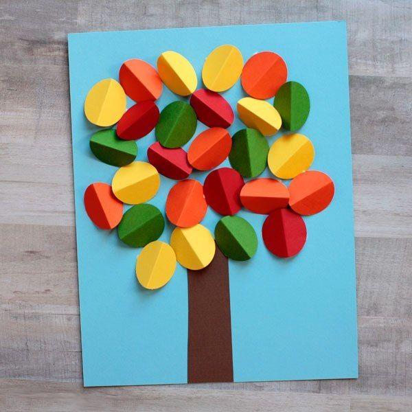 Осеннее дерево из кружочков — Поделки с детьми | Детские ...