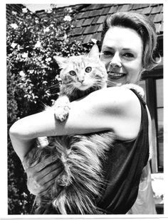 Actress June Lockhart Holding A Cute Kitty Cat Celebrities With Cats Cat People Cat Lovers