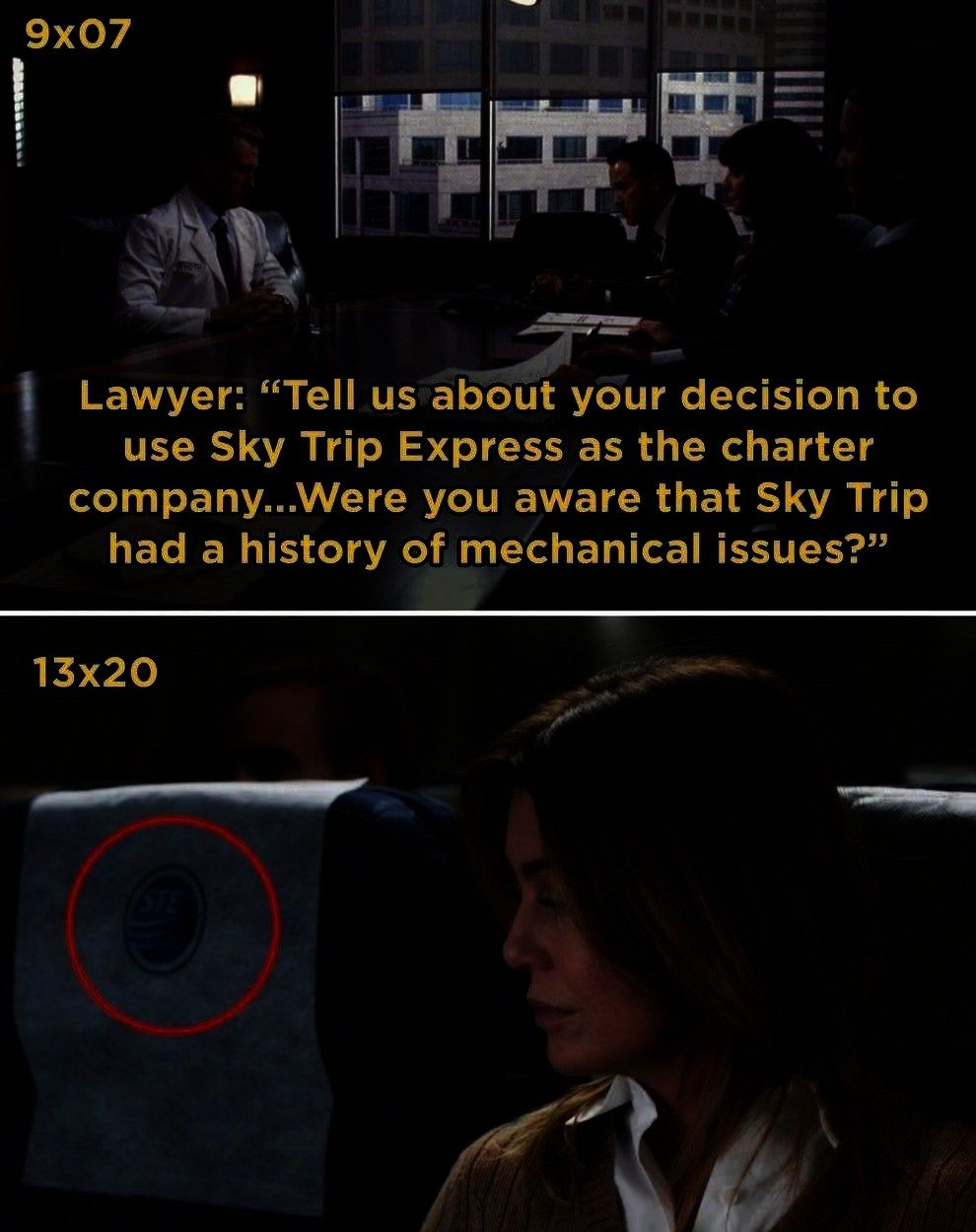You Probably Didnt Notice The First Time In Season 12 Meredith takes a flight using Sky Trip Express  this is the same company that owne21 Details From Greys Anatomy You...