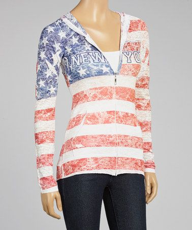 Another great find on #zulily! Red & Blue Distressed 'New York' Hoodie #zulilyfinds