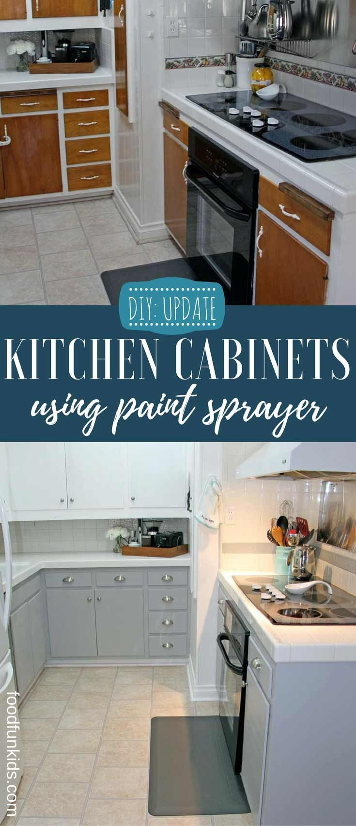 Diy Updating Kitchen Cabinets With Paint Sprayer Food Fun Kids Update Kitchen Cabinets Kitchen Cabinets Diy Kitchen Cabinets