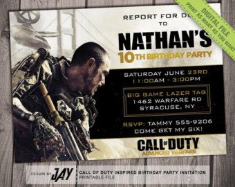 Cod Advanced Warfare Birthday Invitation Call Of Duty Advanced
