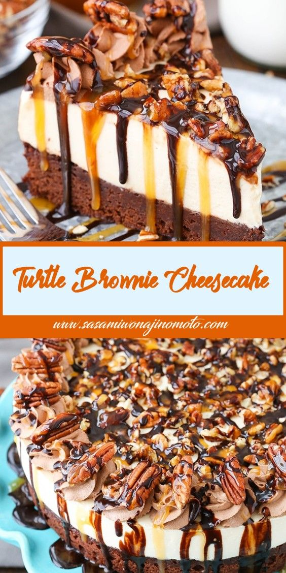 Turtle Brownie Cheesecake #turtlecheesecakerecipes
