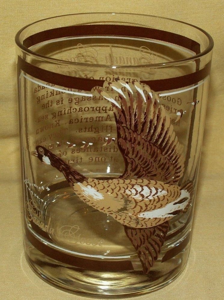 GEORGES BRIARD GLASS CANADA GOOSE CANADIAN GEESE HIGH LOW BALL WHISKEY  BARWARE. #GeorgesBriard