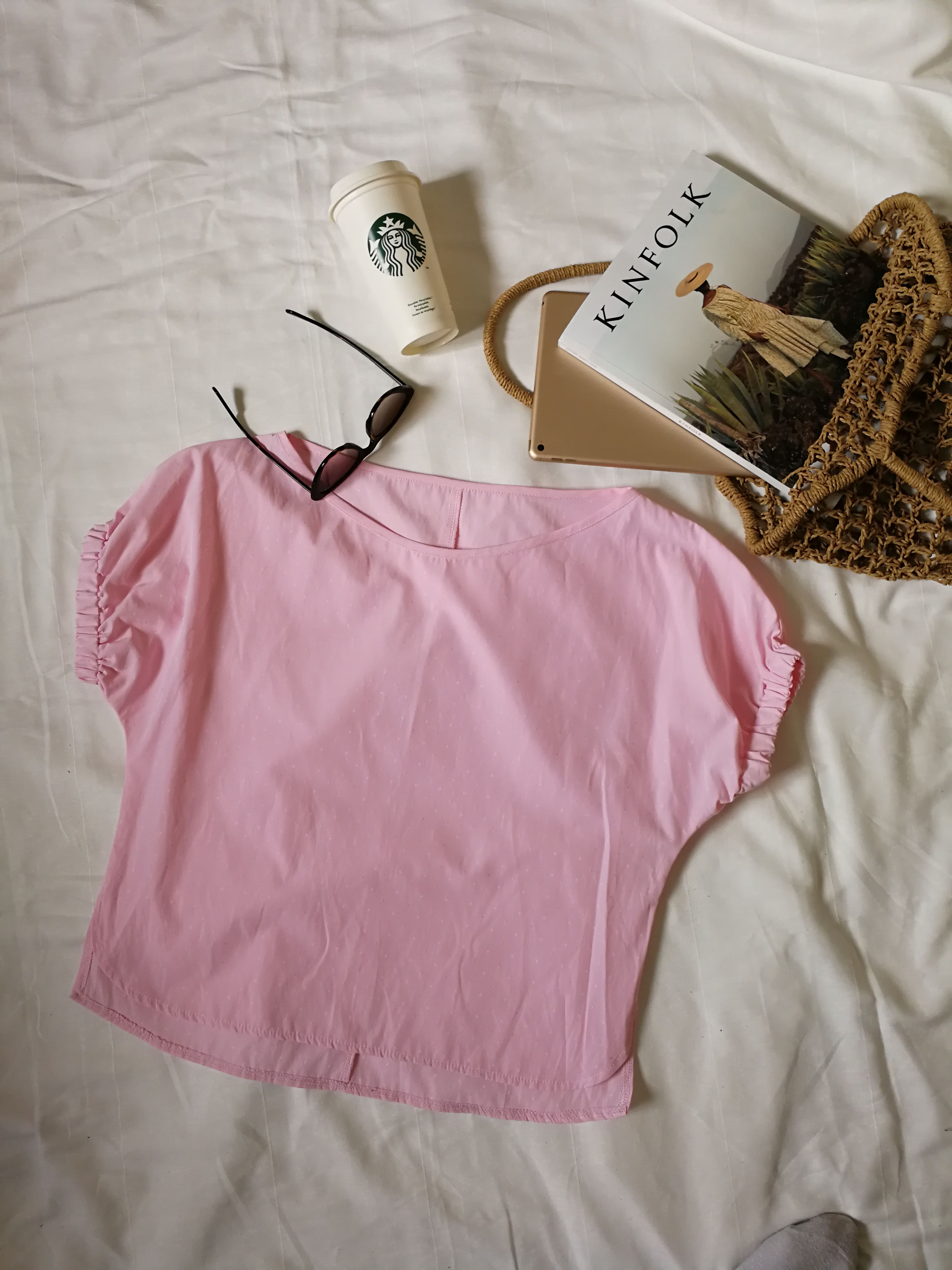 848fd9db52c Light Pink One Shoulder Tops, Women Summer Blouses, Loose Women Top, Boat  Neck Short Sleeves Shirt, Office Blouses, Cotton Casual Shirts