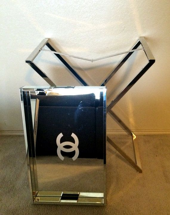 CHANEL Large Mirrored Lacquer Tray Table By CremedelaCCHANEL, Large  Mirrored Lacquer Tray Table, White
