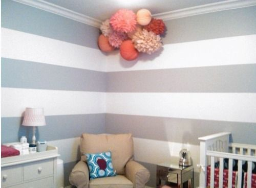 Painting Stripes in the Nursery #graystripedwalls