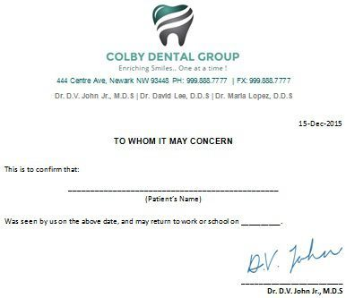 Dental Excuse Letter Template from i.pinimg.com