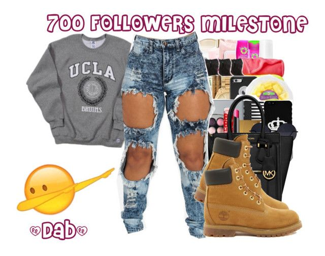 """""""700 Follower Milestone"""" by trillqueenlex ❤ liked on Polyvore featuring Timberland and Roadto1k"""