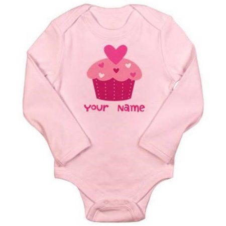 Cafepress Personalized Heart Cupcake Long Sleeve Infant Bodysuit, Infant Girl's, Size: 6 - 12 Months, Pink