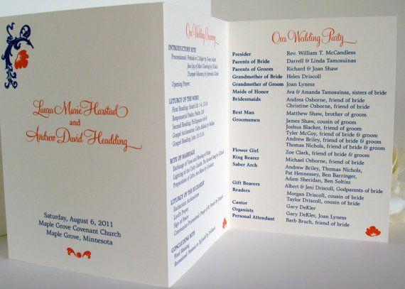 wedding ceremony programs leaflet booklet pamphlet blue