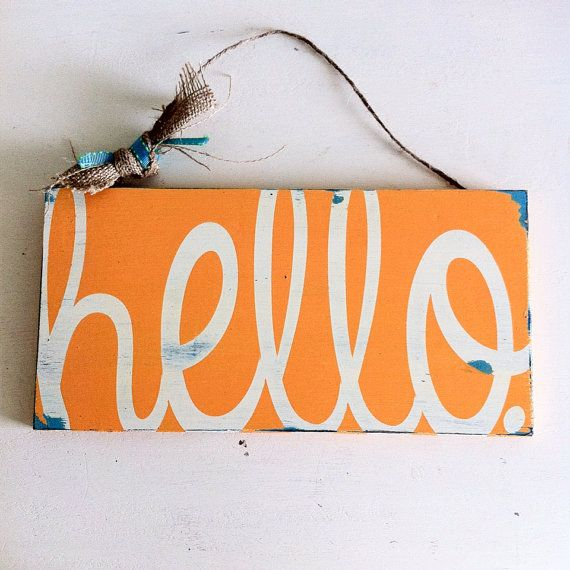 Front door sign. Welcome sign. Painted wood sign. Hello sign ...