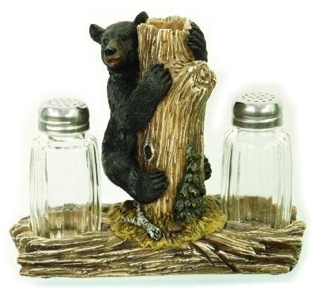 Black Bear Climbing Tree Design Salt and Pepper Set
