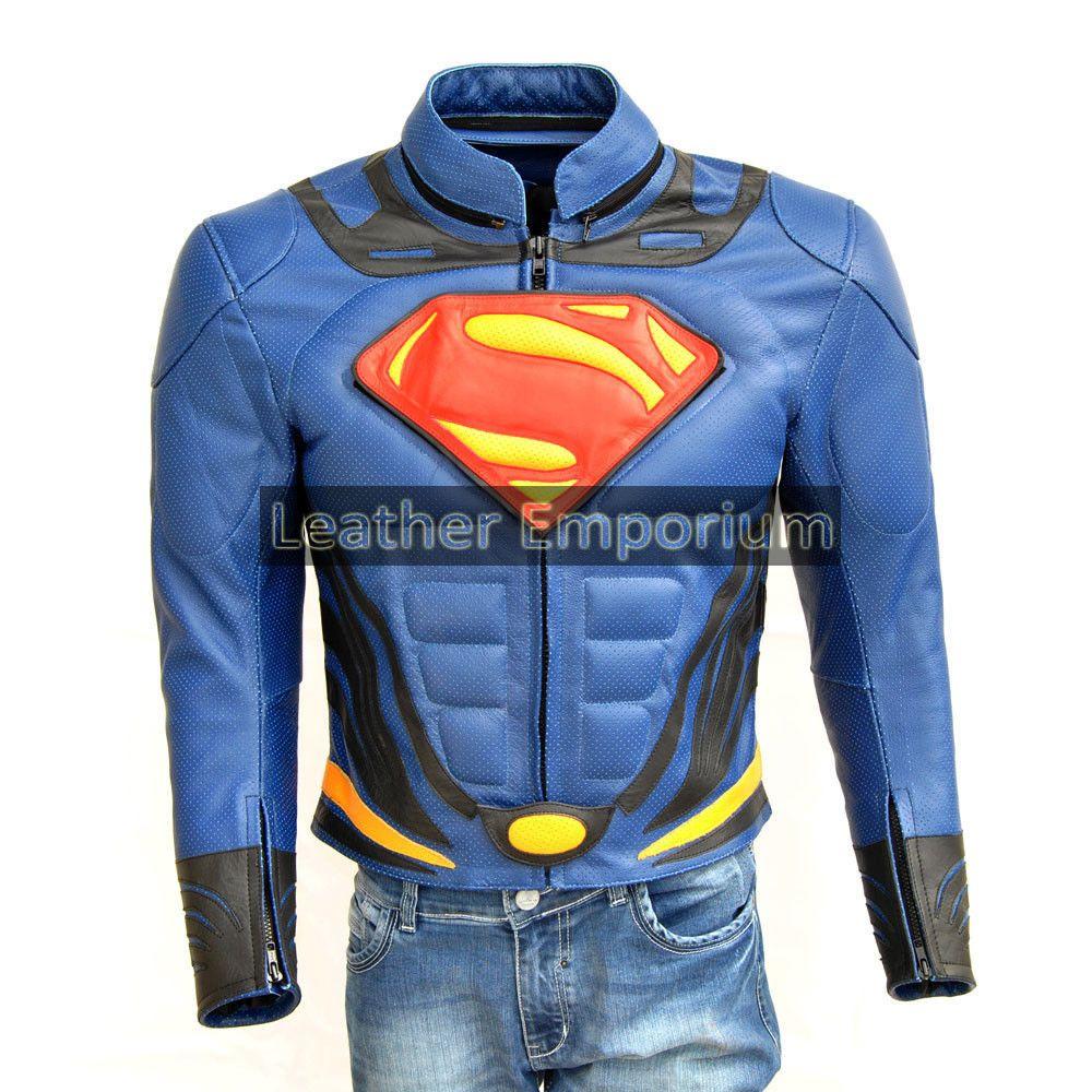Superman Motorcycle Man of Steel Cowhide Biker Leather