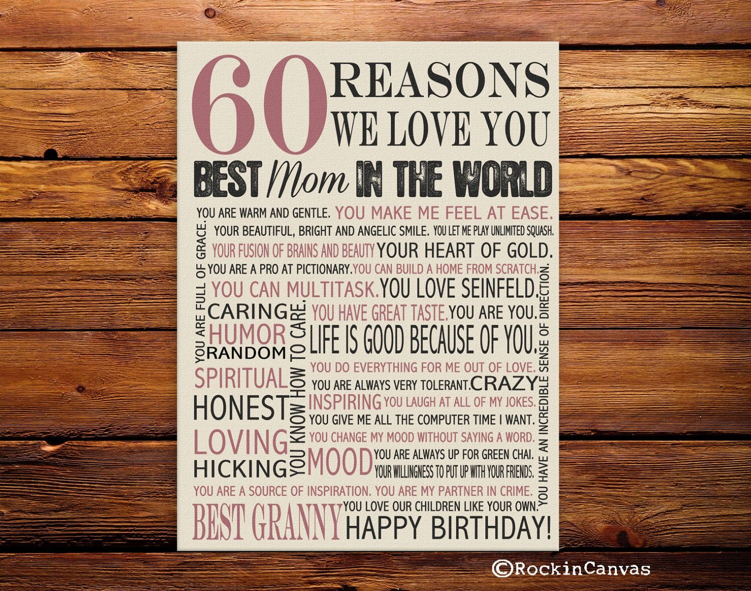60th Birthday Present Reasons We Love You 30th 40th 50th 70th Mother BirthdaySong QuotesSong LyricsAnniversary GiftsWedding