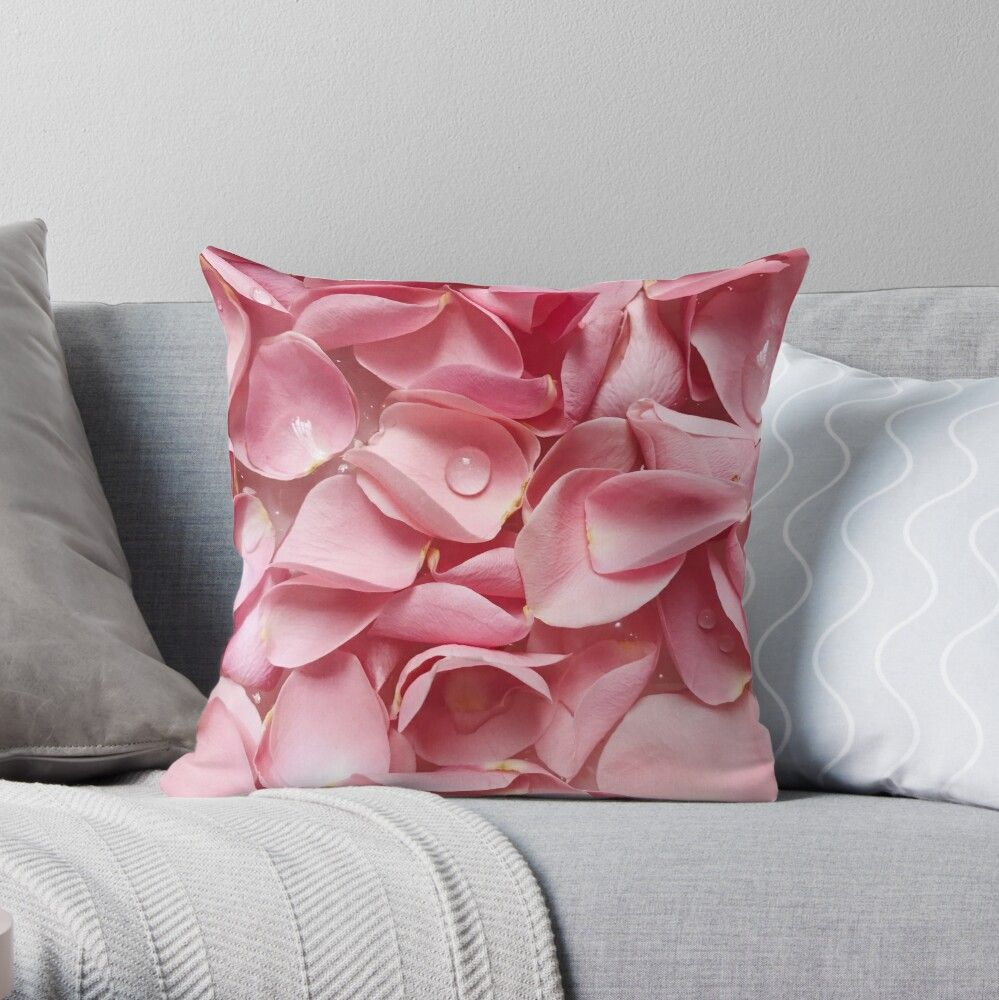 Pink Rose Petals Throw Pillow By Alishen Flower Throw Pillows Throw Pillows Patterned Throw Pillows