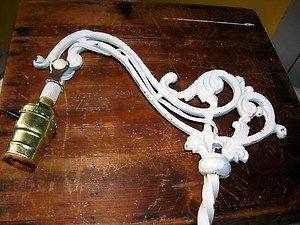 Antique Cast Iron Floor Lamp Gooseneck Shabby White Works Great ...