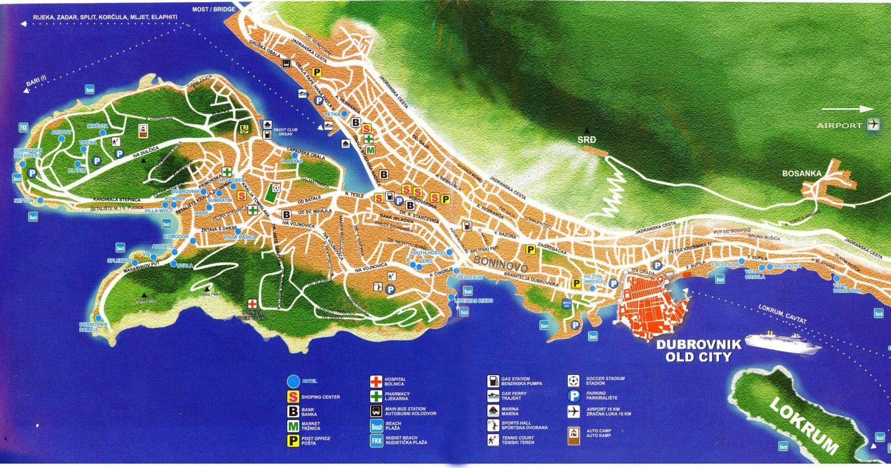 Dubrovnik Map Jpg 1754 921 Dubrovnik Map Dubrovnik Croatia