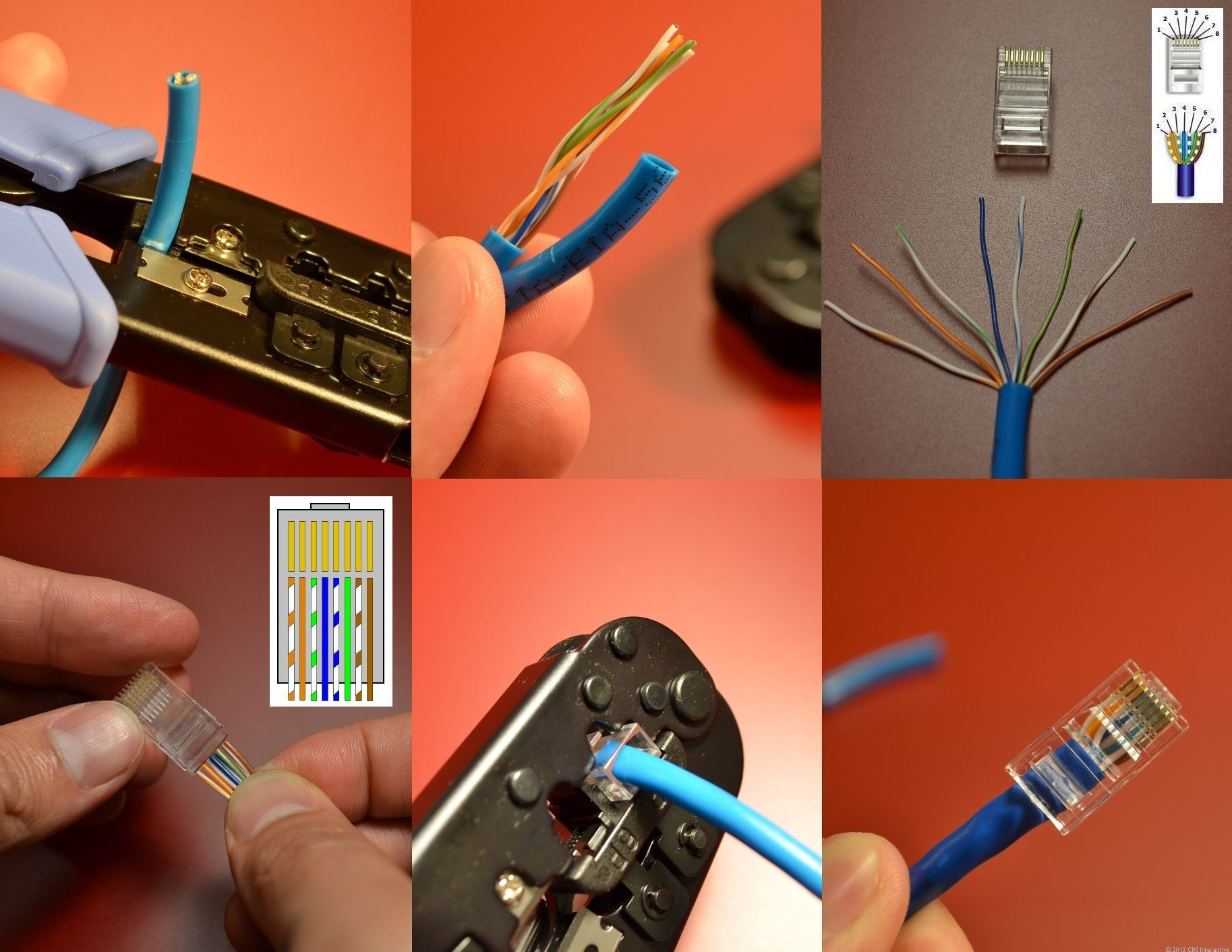 here are the steps to make your own network cable remember the wiring scheme is the hardest part click to enlarge  [ 1827 x 1412 Pixel ]