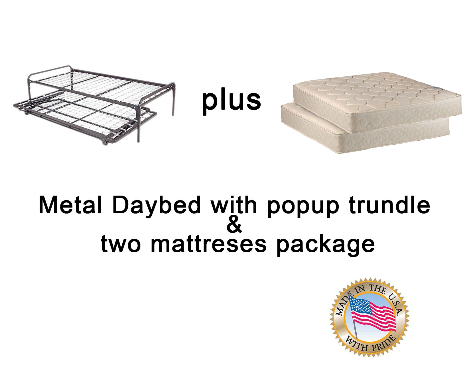 Dream Solutions Metal Day Bed Daybed Frame And Pop Up Trundle With Great Soft Mattresses Included Package Deal Twin Walmart Com Pop Up Trundle Daybed Trundle Twin size bed with mattress included