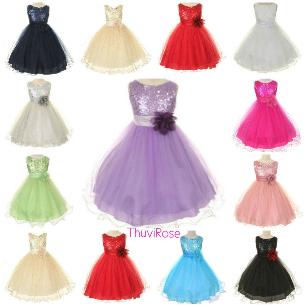 Click to Buy << 2015 New Summer Girls Dress Flowers Sequins Girl ...