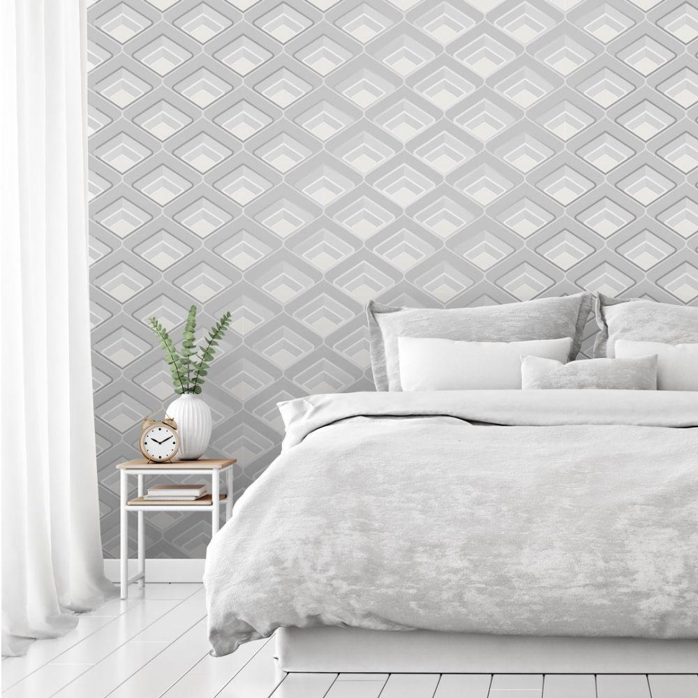 Retro Geometric 3d Effect Wallpaper Grey Wallpaper Uk Grey Wallpaper Textured Wallpaper