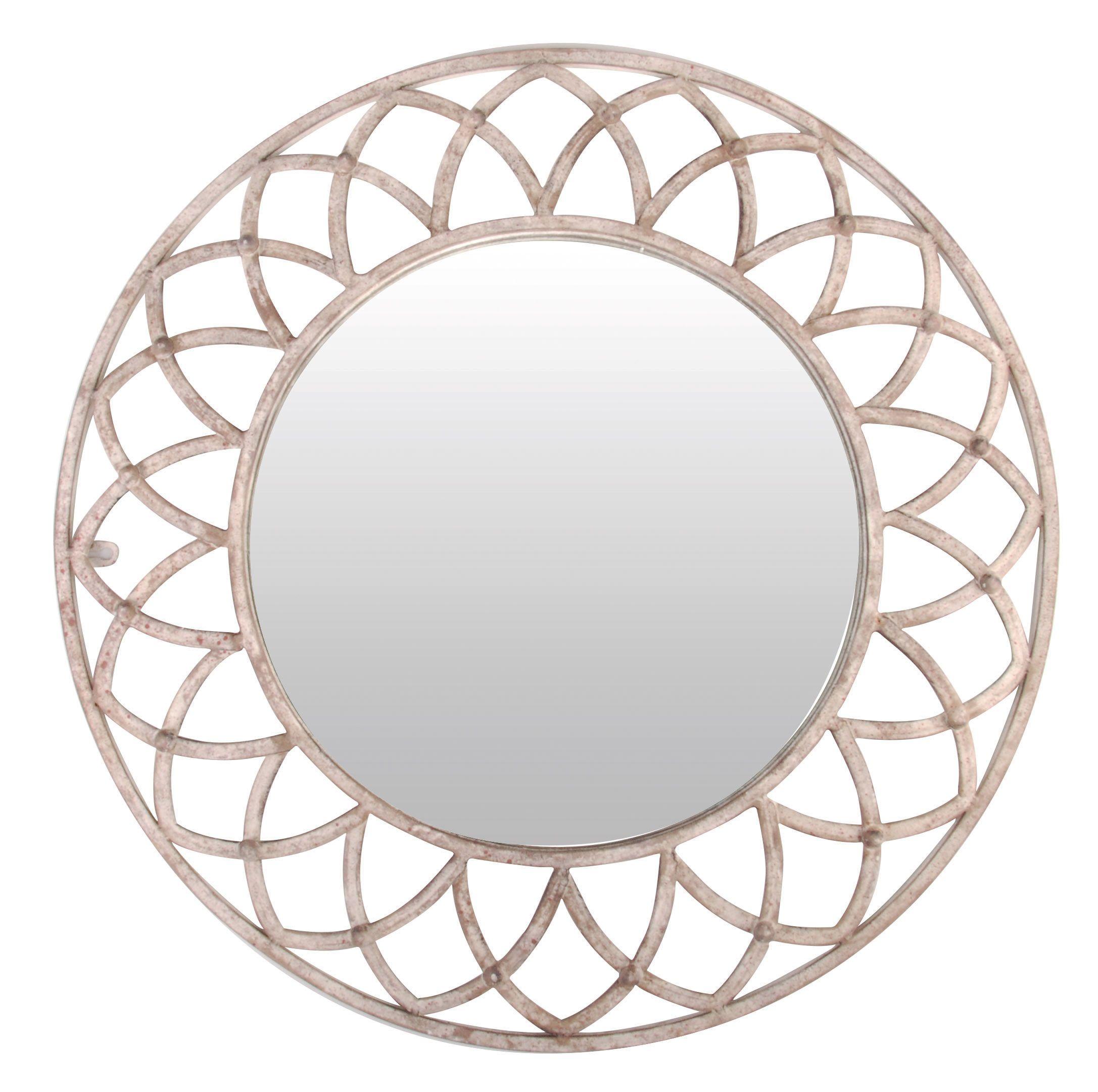 Dieser Außergewöhnliche Spiegel Im Landhausstil In Weiß/Grauem Aged Metall  Von Esschert Design,