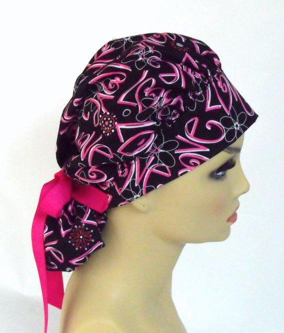 Sparkle Leaves Women/'s Ponytail Surgical Scrub Hat//Cap Handmade