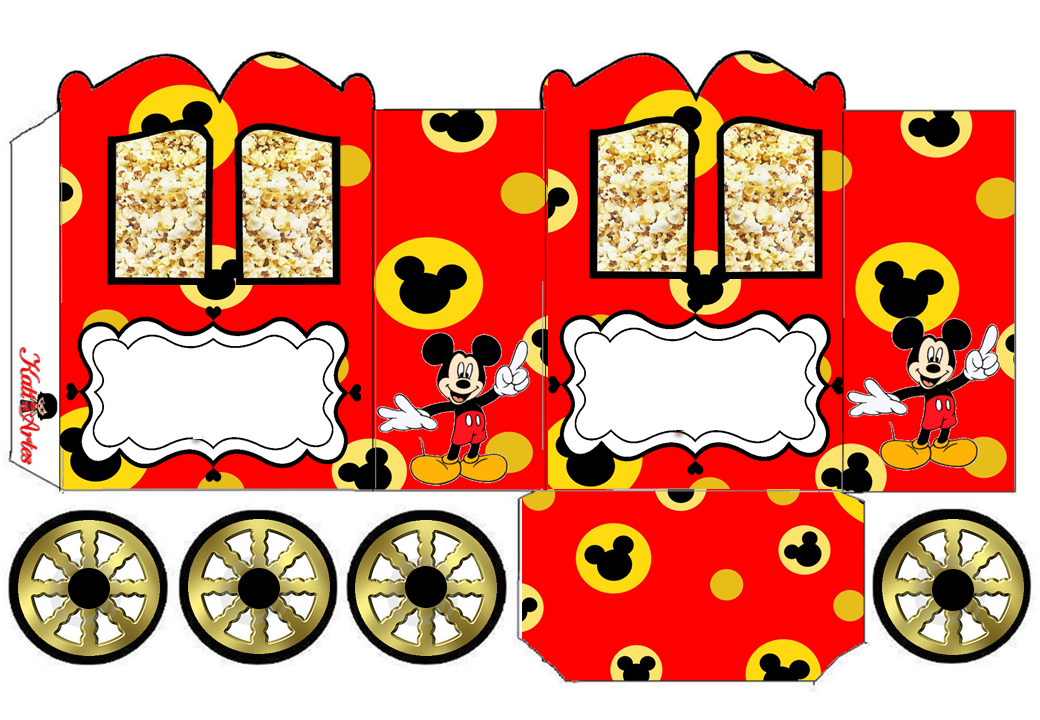 Moldes De Palomas Para Imprimir: Mickey Mouse: Caja Con Forma De Carruaje Para Imprimir