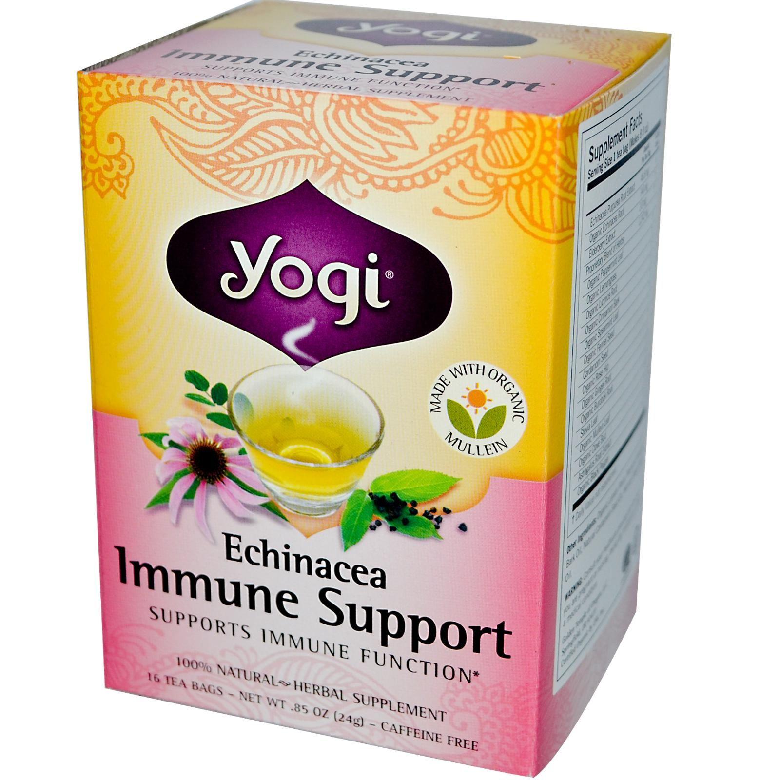 Yogi Tea Echinacea Immune Support Caffeine Free 16 Tea Bags 85 Oz 24 G Iherb Com Bruk Gjerne Rabattkoden Min Cec Bedtime Tea Yogi Tea Detox Tea Yogi