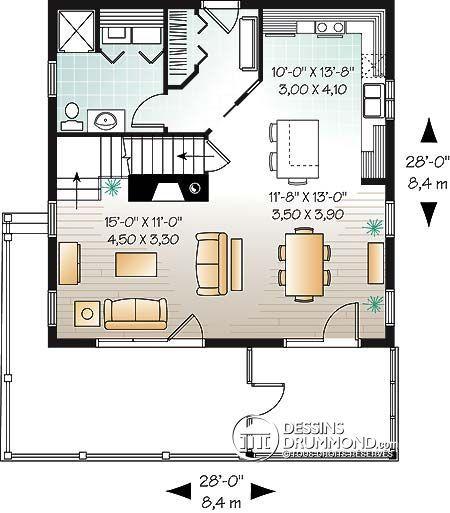 Détail du plan de Maison unifamiliale W3929-V1 Maison 2 Pinterest - Plan Electrique Salle De Bain
