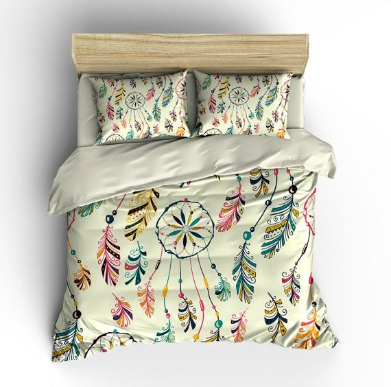 boho chic bedding, duvet cover set, dream catcher southwest design