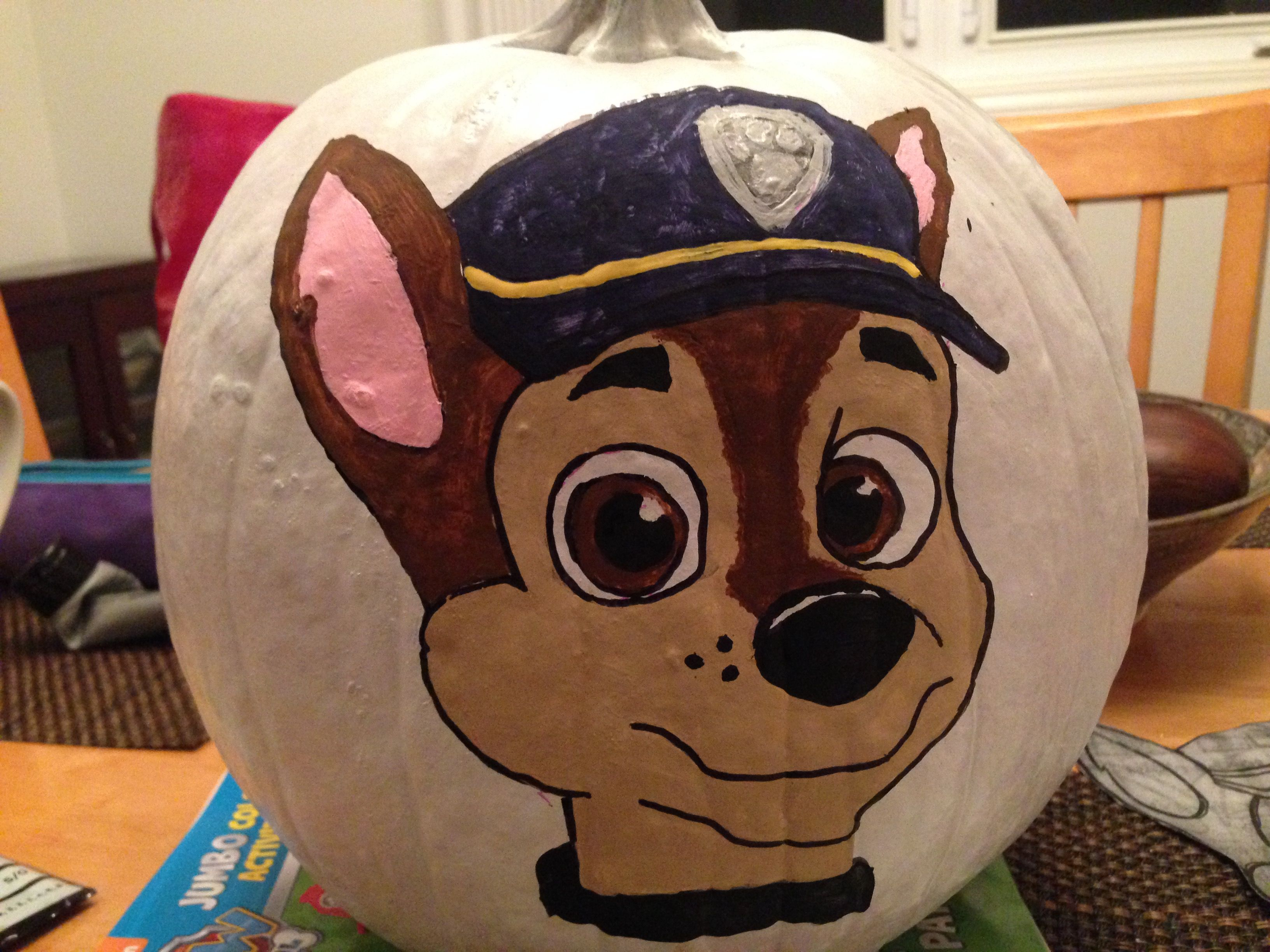 chase painted paw patrol pumpkin - How To Paint Pumpkins For Halloween