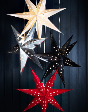 Hanging Star Light Decorations From Ikea Super Cheap And Way Cute Various Sizes Too Ikea Christmas Decor Holiday Inspiration