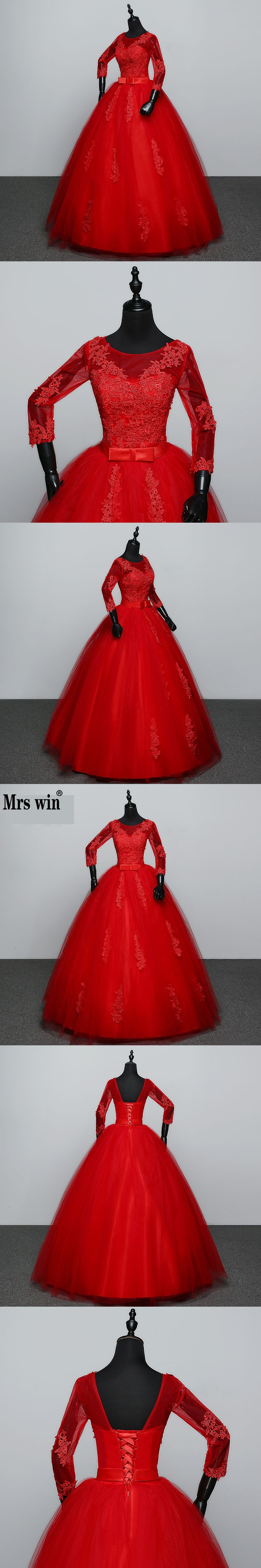 new arrival customized white red wedding dress quarter sleeve