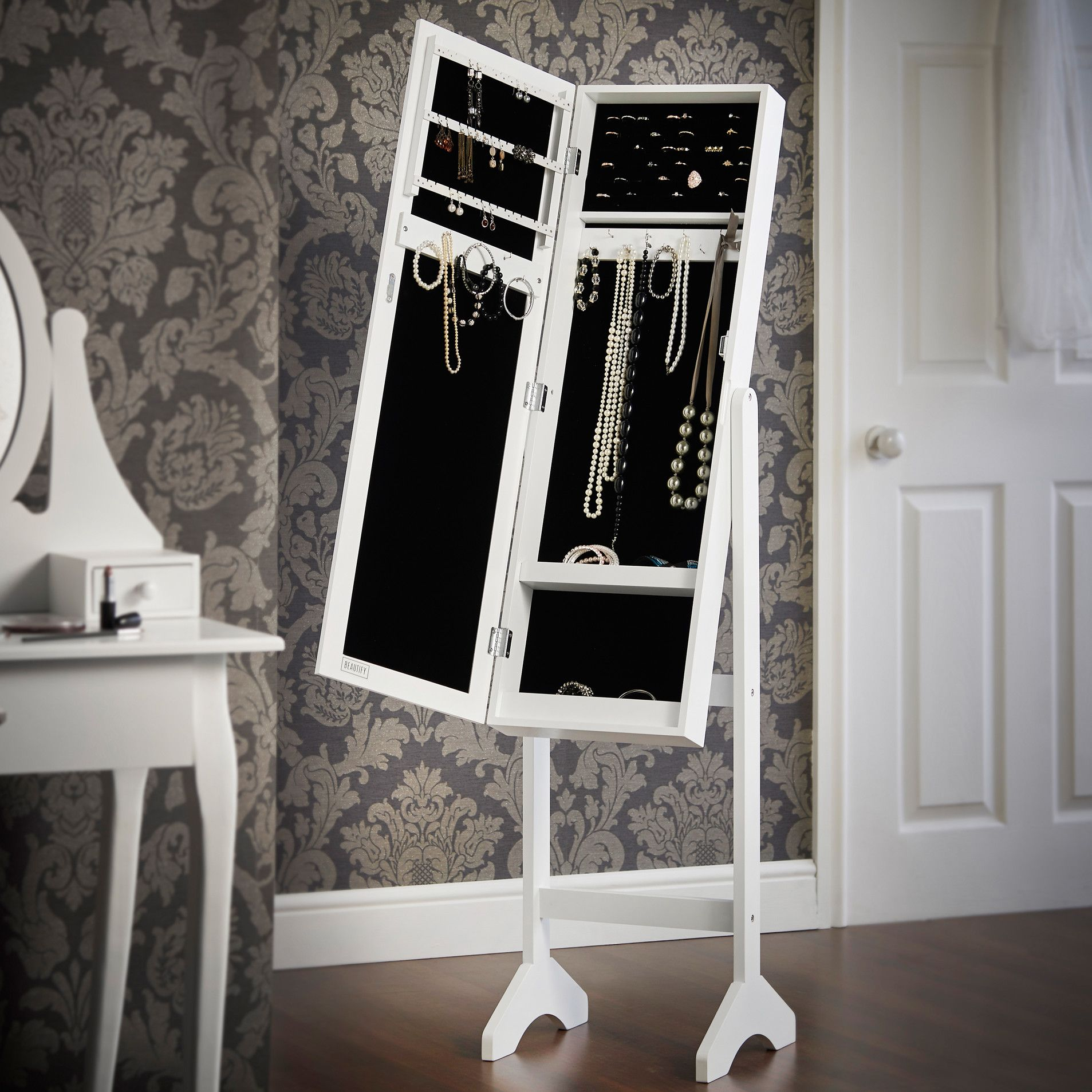 Beautify Mirrored Jewelry Armoire with Mirror 107 Bedroom