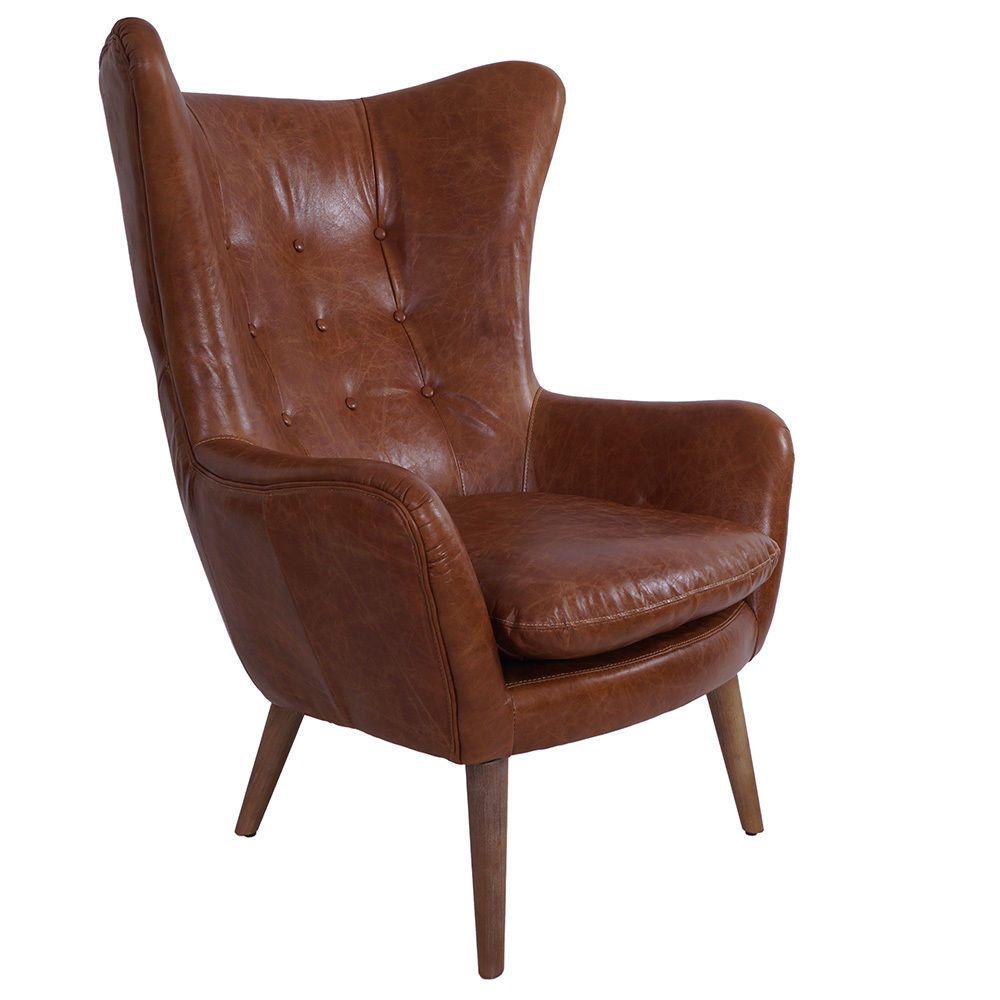 Vintage Echtleder Sessel Exeter Ohrensessel Leder Antik
